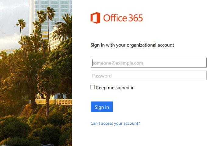 Outlook Web App Login Screen