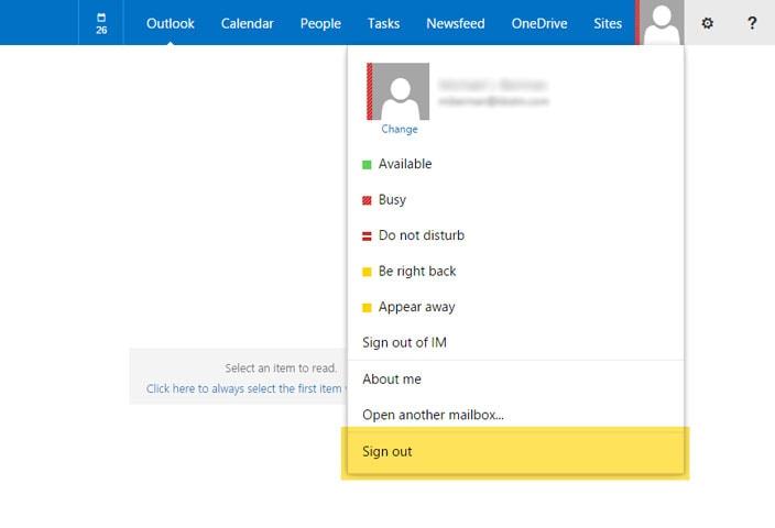 Outlook Web App Logoff